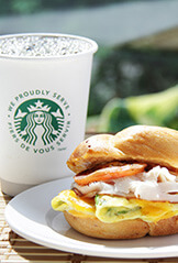 Breakfast Club Sandwich and Starbucks Coffee