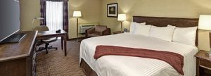 Room with King bed at Sault Ste. Marie hotel.
