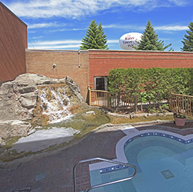 Outdoor courtyards at Sault Ste. Marie Hotel