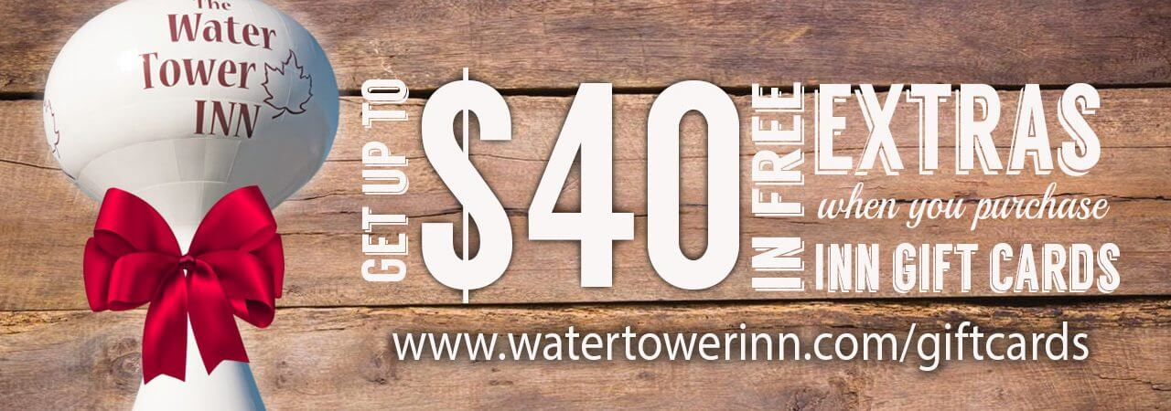 Water Tower Inn gift cards make excellent Christmas gifts.